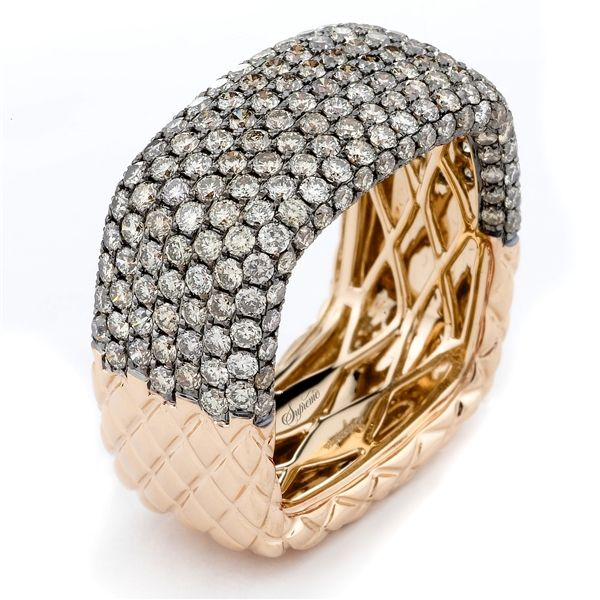 Supreme Jewelry Squared Ring In Rose Gold With Champagne Diamonds