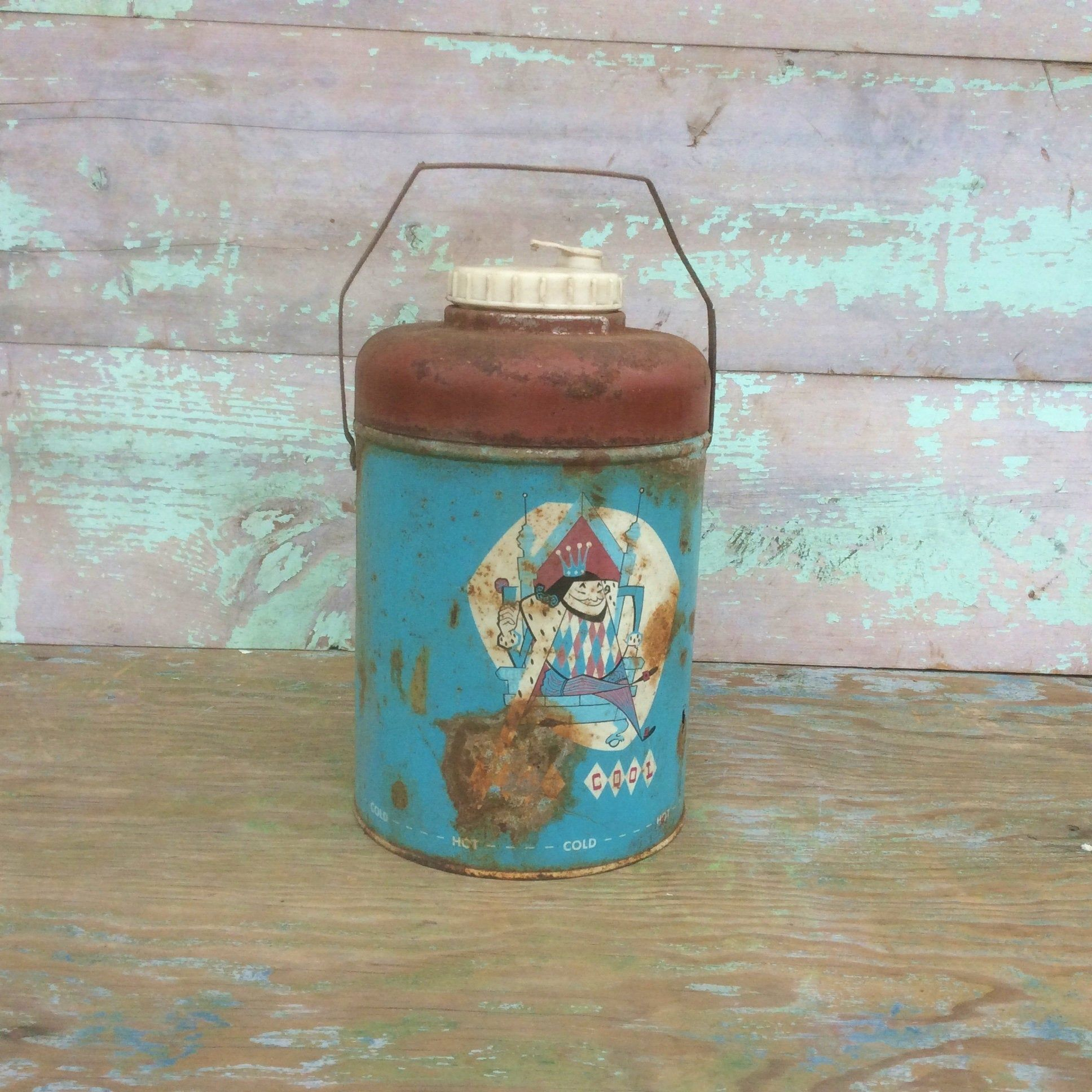"""Rusty Turquoise & Red Metal Vintage 1950s """"KING COOL"""" Hot"""