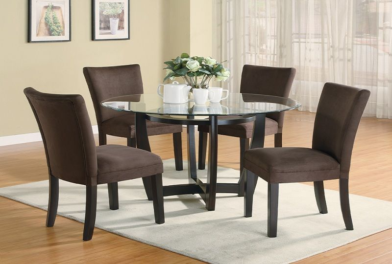 Furniture Outlet Round Tempered Glass Dining Table Set Fabric