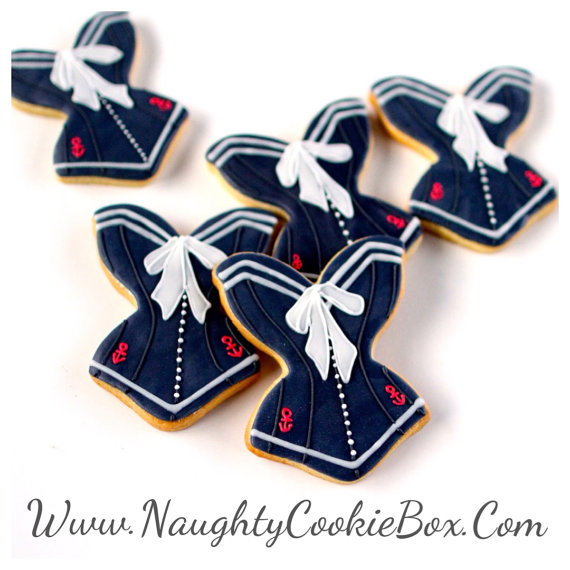 1 Dz. Sexy Sailor Corset Cookies. A Salute to Military Women Everywhere!