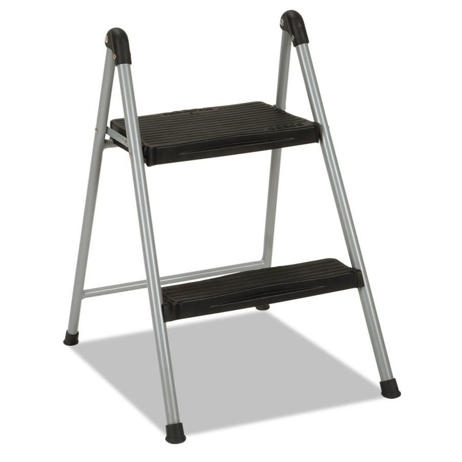 Cosco Folding Step Stool 2 Step 200 Lb Capacity 16 9 In Working Height Platinum Black Csc11024pbl1e In 2020 Plastic Step Stool Stool Wood Steps