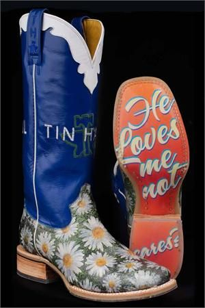 d9533ae049e Tin Haul Boots Women's Blue Daisy Cowgirl Boots | Boots... boots ...