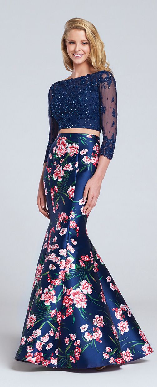 55faea5ecbfe Prom Dresses 2017 - Ellie Wilde for Mon Cheri - Navy Blue Floral Two-Piece  Prom Dress with Long Sleeve Crop Top - Style No. EW117090