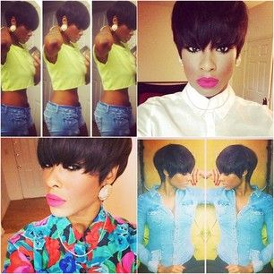 Shorthair For Black Women Low Cut Chinese Bang Messy Cute Short