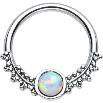 White Opal Drops Of Dew Captive Ring
