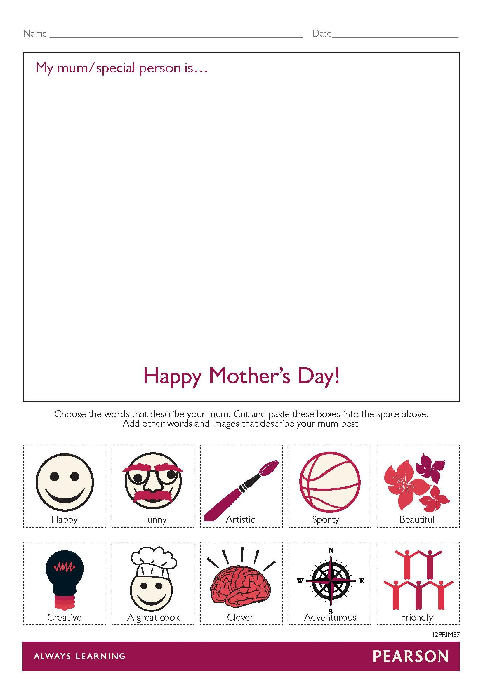 Free Mother S Day Worksheet For Foundation To Year 2