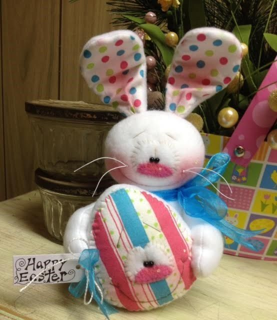 Primitive Raggedy HC Easter Bunny Rabbit Doll Spring Egg Super Cute! Sitter #IsntThatCute #Easter