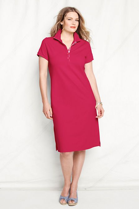 Women\'s Short Sleeve Madras Trim Polo Dress from Lands\' End ...