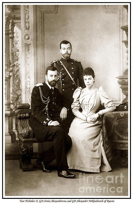 Tsar Nicholas II Gd Xenia Alexandrovna And Gd Alexander Mikhailovich Of Russia Print by Royal Portraits
