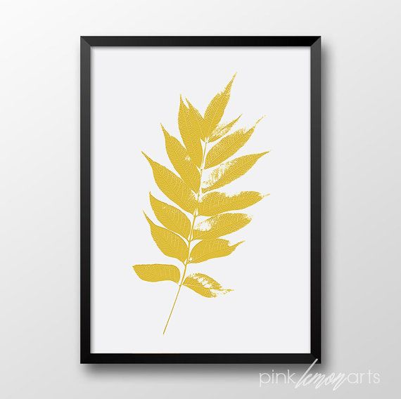 Mustard color leaf Printable wall art by PinkLemonArts on Etsy ...