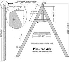 Swing set support frame plan side elevation garden for 4x4 swing set plans