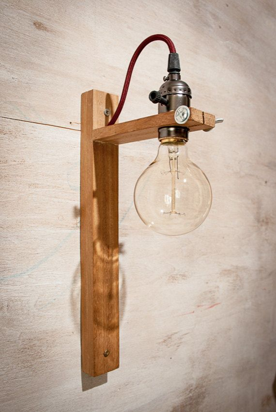 recycled wall sconce g80 edison lamp wood lamp by eunadesigns cool house shit pinterest. Black Bedroom Furniture Sets. Home Design Ideas