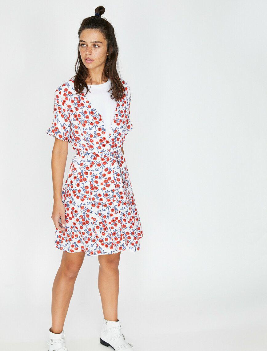 Gul Bayan Desenli Elbise 9yal88037ow22b Koton Elbise Midi Elbise The Dress