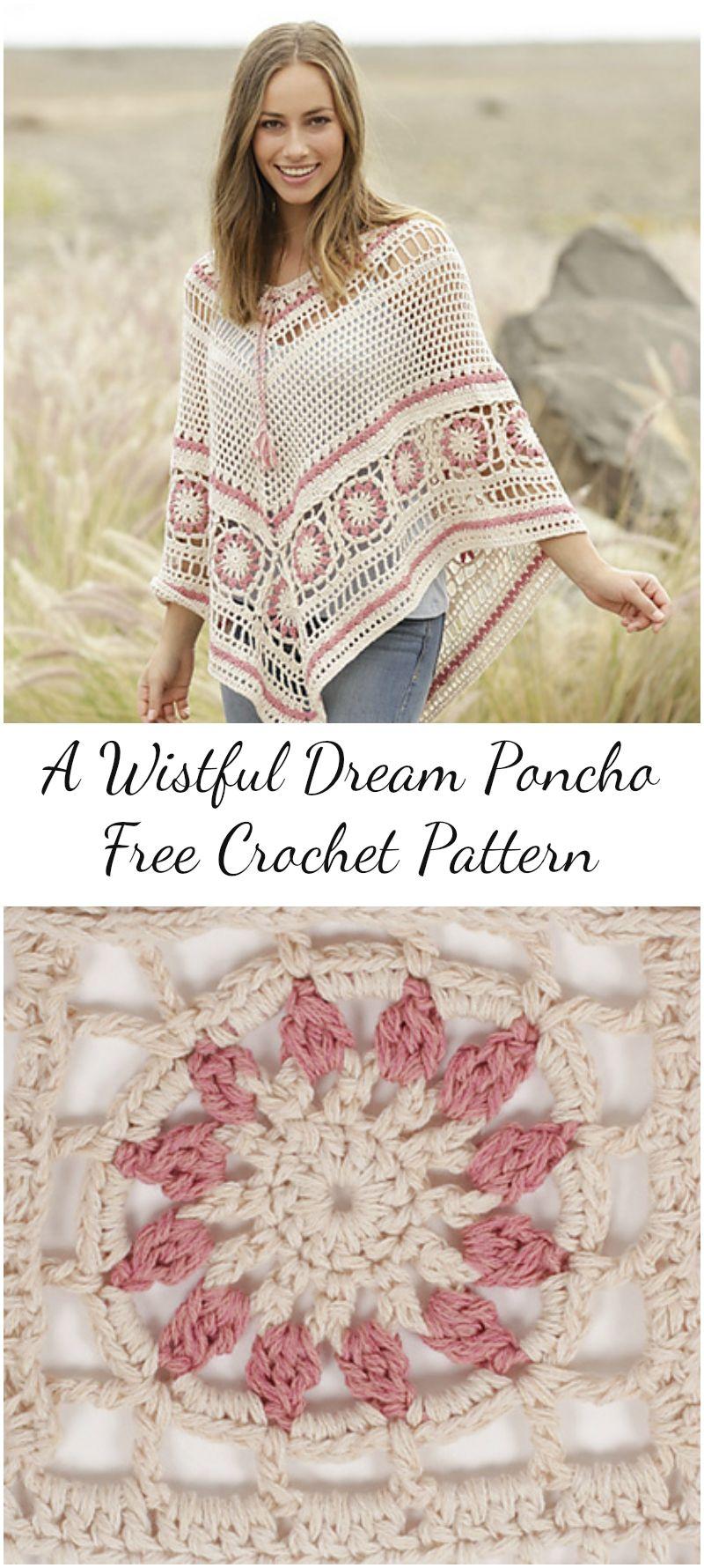 A Wistful Dream Poncho – Free Crochet Pattern: Visit pattern site ...