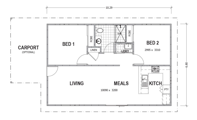 2bedrooms Granny Flats Floorplan Layout Tununda