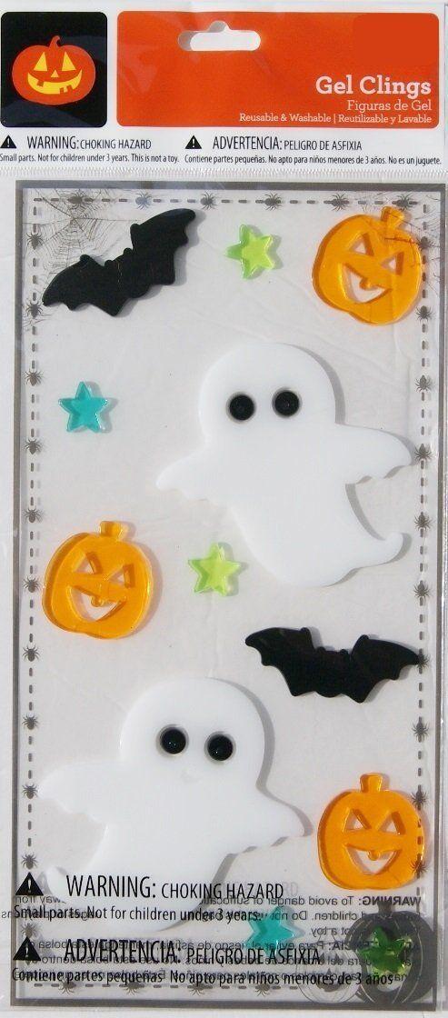Halloween Gel Window Clings - Ghosts and Bats - 12 Piece - halloween window clings