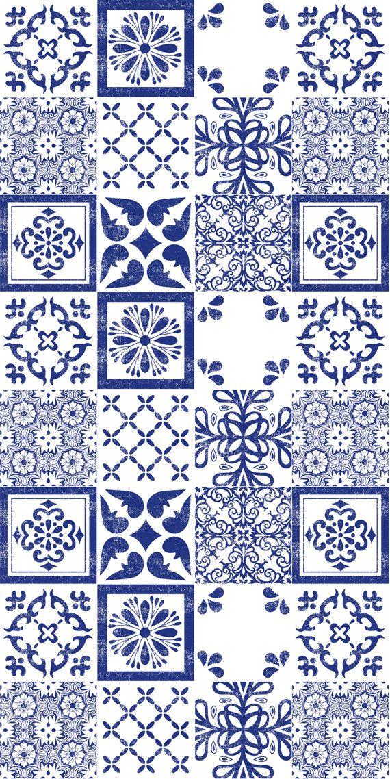 Mexican Indigo Mix Wallpaper Removable Vinyl Wallpaper – Peel & Stick – No Glue, No Mess