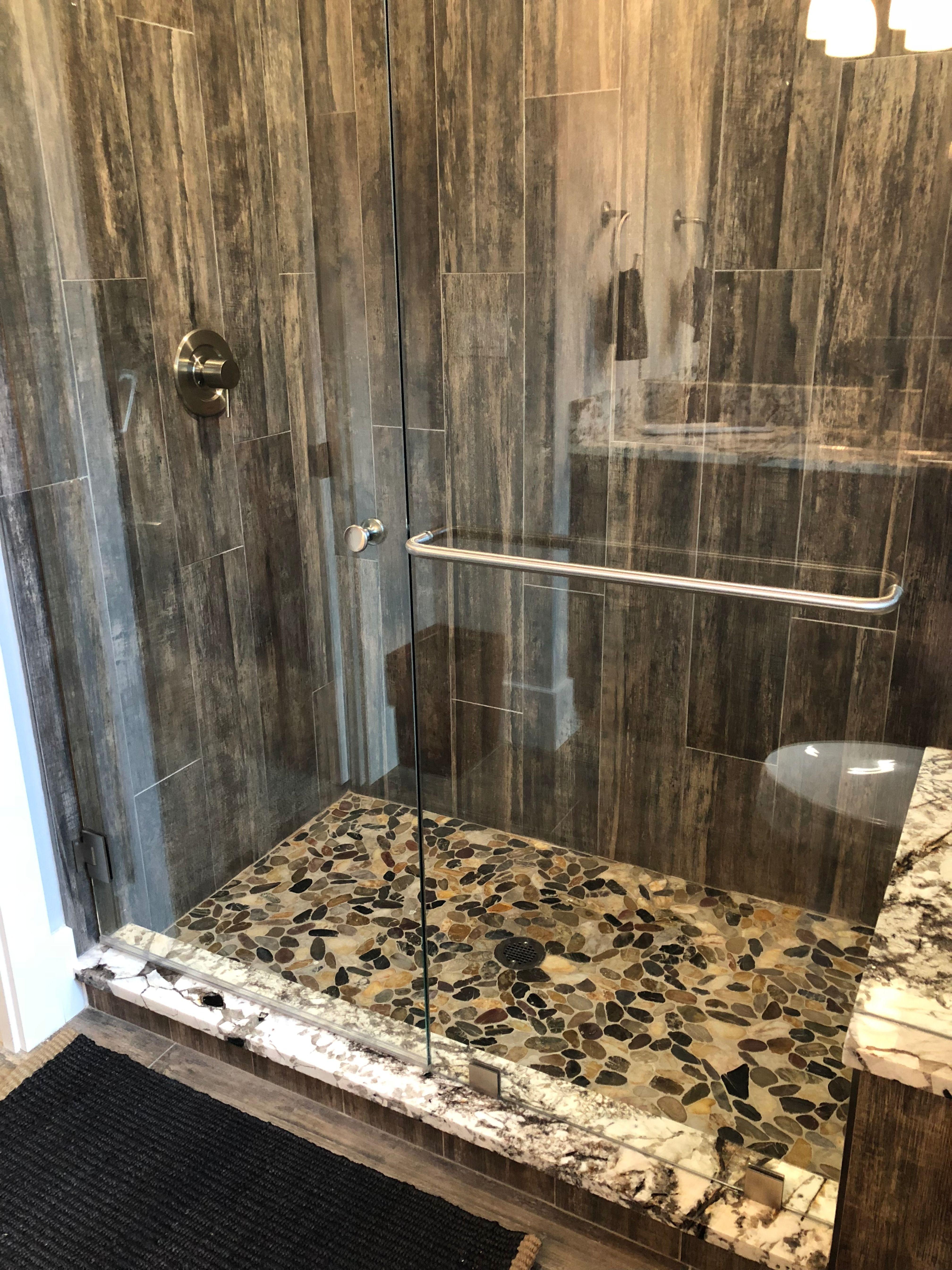 Wood Tile Shower Walls Bathroom Design Inspiration Wood Tile Shower Pebble Floor