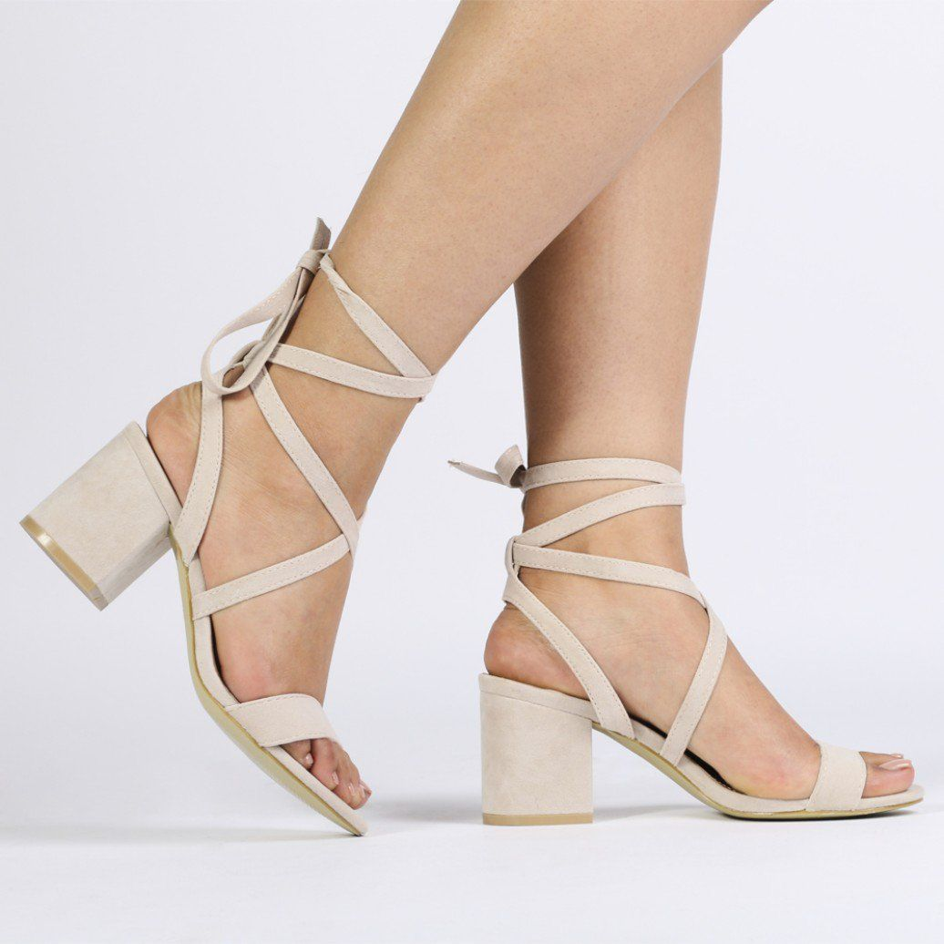 9192ec1b9dc Sophie Heeled Sandals in Nude Faux Suede. Gold Lace Up Heels