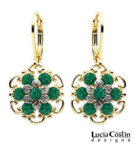 24K Yellow Gold Plated over .925 Sterling Silver Dangle Flower Earrings Designed by Lucia Costin with Sterling Silver Middle Flowers and Dots, Adorned with Green Swarovski Crystals and Twisted Lines Lucia Costin. $48.00. Update your everyday style with inspiration when wearing this piece of jewelry; Wonderfully designed with emerald - green Swarovski crystals; A perfect addition to your jewelry box; Unique jewelry handmade in USA; Floral earrings amazingly des...