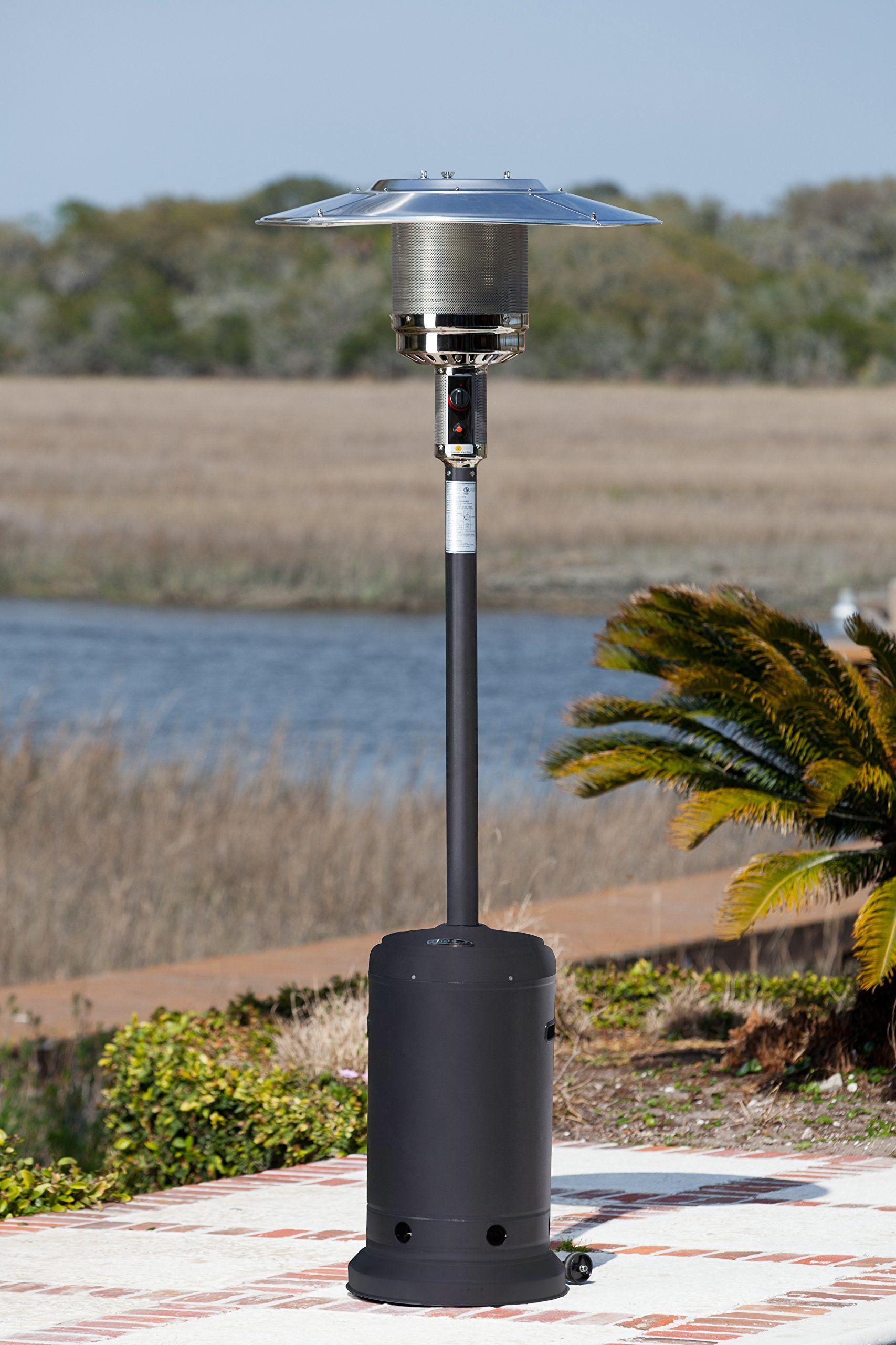 Golden Flame 46 000 Btu Xl Series Matte Black Commercial Grade Propane Patio Heater W Wheels 19 Fire Sense Patio Heater Propane Patio Heater Patio Heater