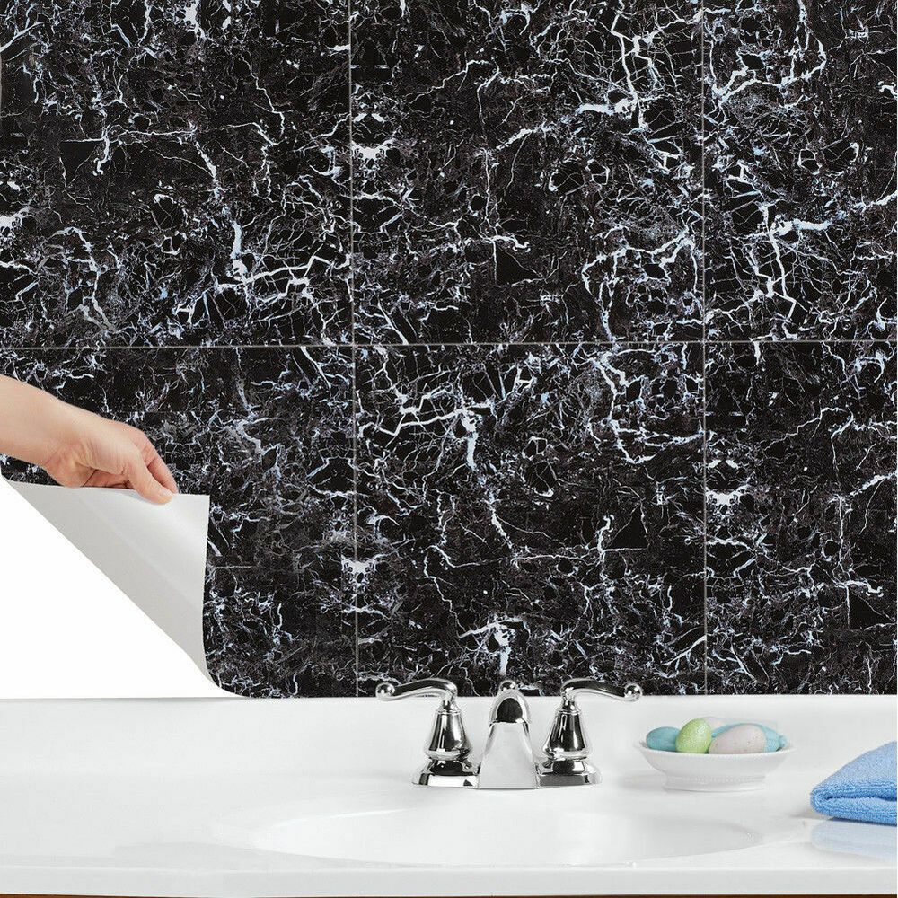 - Peel & Stick Black Marble Effect Wall Tiles Adhesive Kitchen
