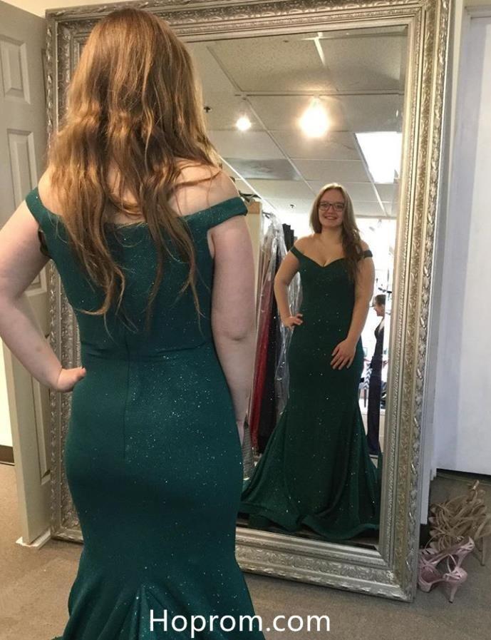 55f353c2cae8f Off Shoulder Dark Green Mermaid Glitters Prom Dresses Evening Dresses
