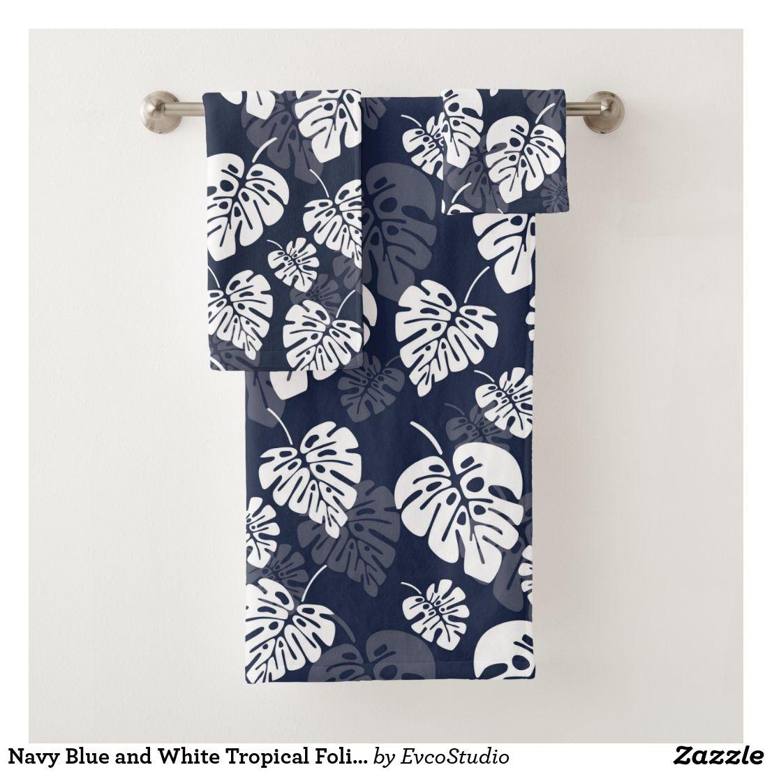 Navy Blue And White Tropical Foliage Floral Bath Towel Set