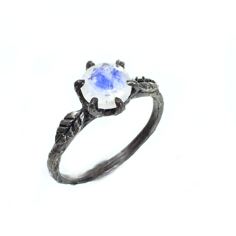 Moonstone engagement ring gemstone twig band rustic wedding jewelry