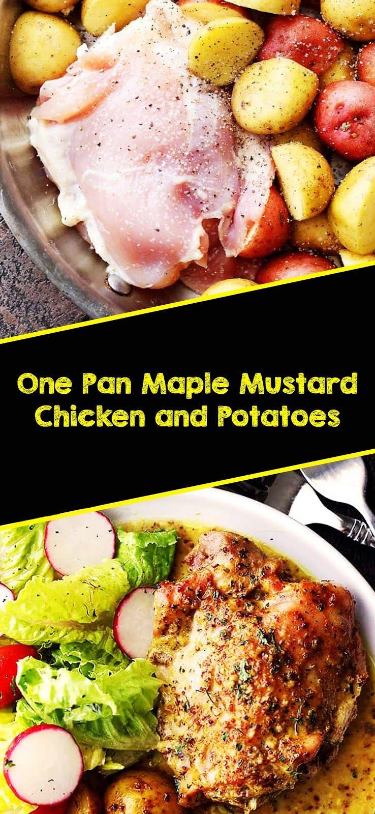 One Pan Maple Mustard Chicken And Potatoes Cooking Rich Resep Ayam Resep Ayam Sehat Resep Makanan