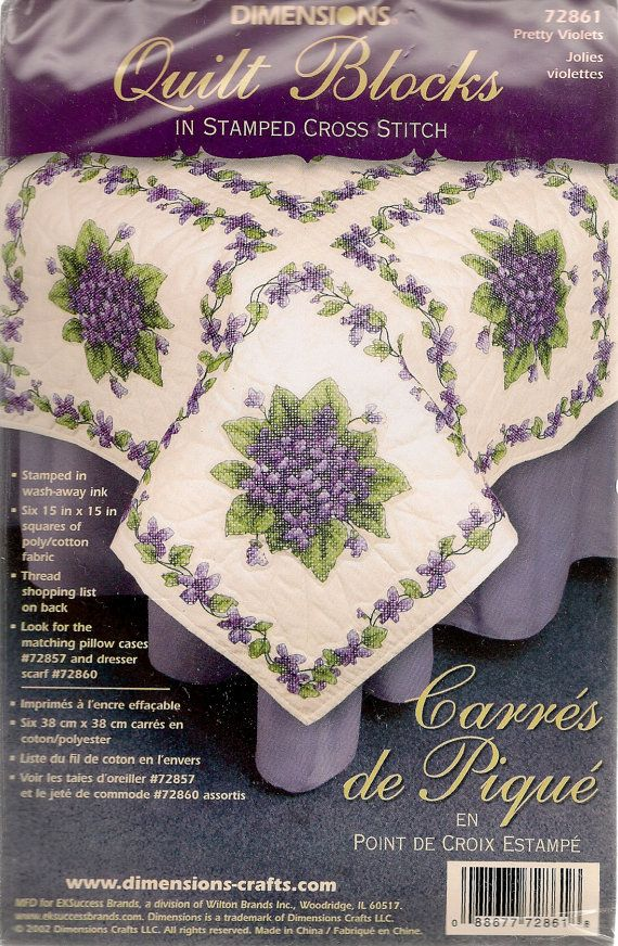 Pretty Violets St&ed Cross Stitch Quilt Blocks by DIMNENSIONS ... : stamped embroidery quilt kits - Adamdwight.com