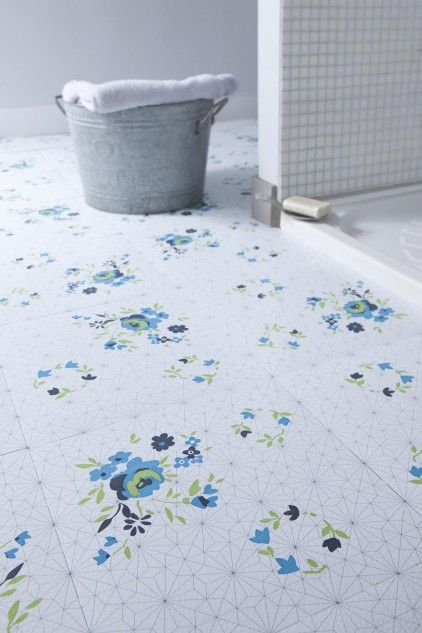 Blue Rose Vinyl Flooring Floor Tiles