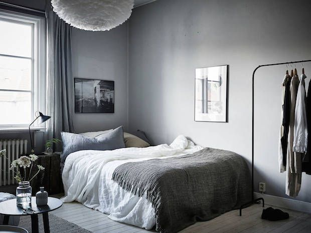 A calm, cocoonlike Swedish space in greys (my