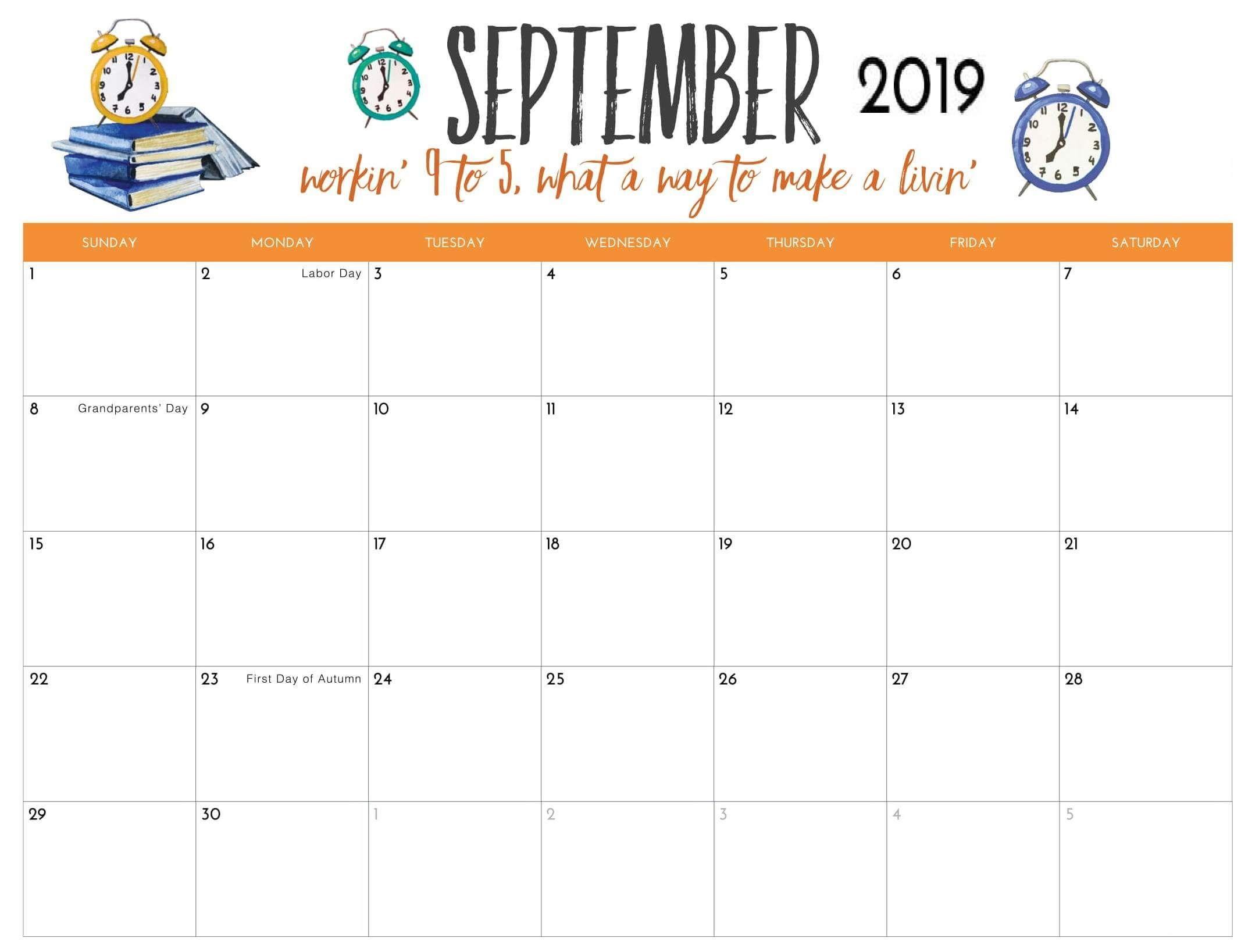 September 2019 Holidays Calendar | Free printable calendar ...