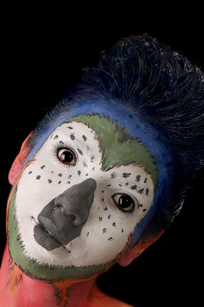 Parrot face paint | Zoomorphs | Makeup, Animal faces, Body ...