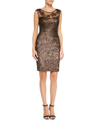 Metallic Lace-Yoke Cocktail Dress by Kay Unger New York at Neiman Marcus.