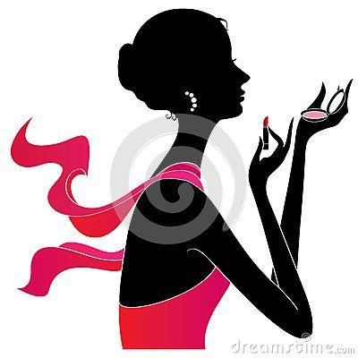 Girl applying make up silhouette, vector