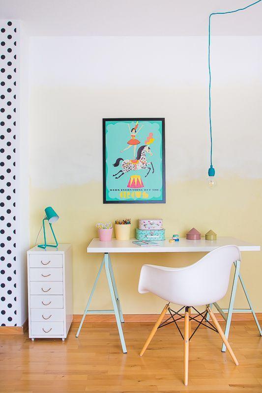 Kinderzimmergestaltung im Ombre Style DIY Wand streichen