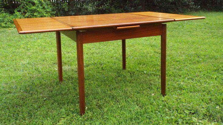 Dining Table With Leaves That Pull Out vintage danish modern teak square dining table with two pull-out