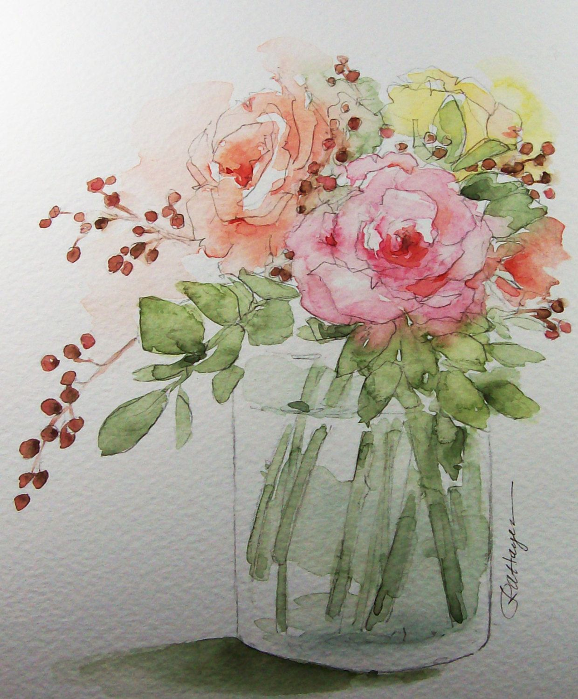 Bouquet of roses original watercolor painting flowers - Couper une photo sur paint ...