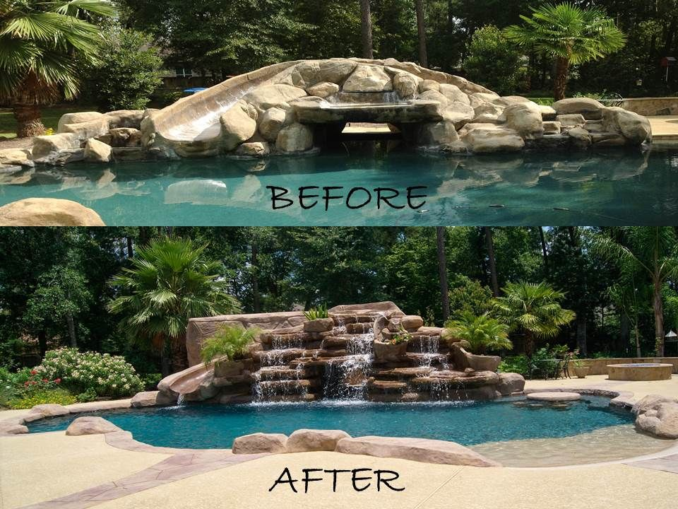 Swimming pool remodel before and after boulder waterfalls - How long after pool shock before swim ...