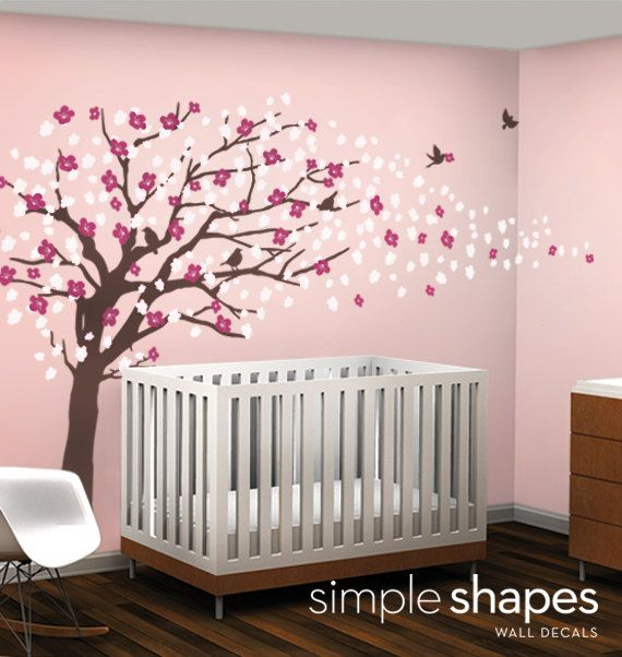 Tree Wall Art tree wall decals - cherry blossom tree decal - elegant style