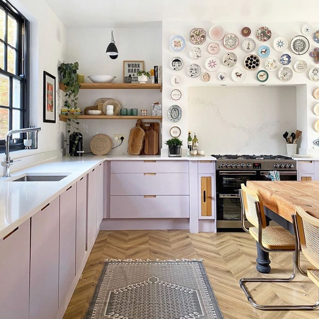 o r i g i n a l b t c on instagram with its wall of plates and lilac cabinets lisa dawson on r kitchen cabinets id=72247