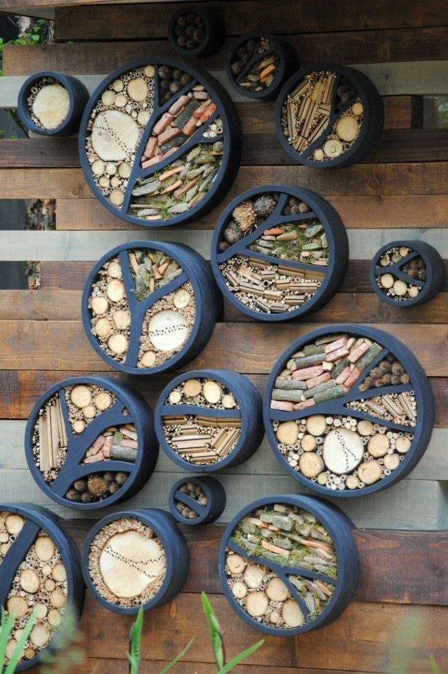 Insect hotel for all the beneficial insects in the garden  Insect houses … thi – Pollinator garden design