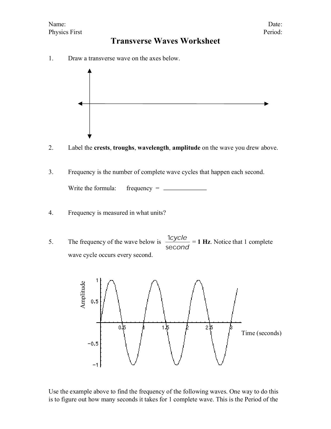 Worksheet Labeling Waves Answer Key In