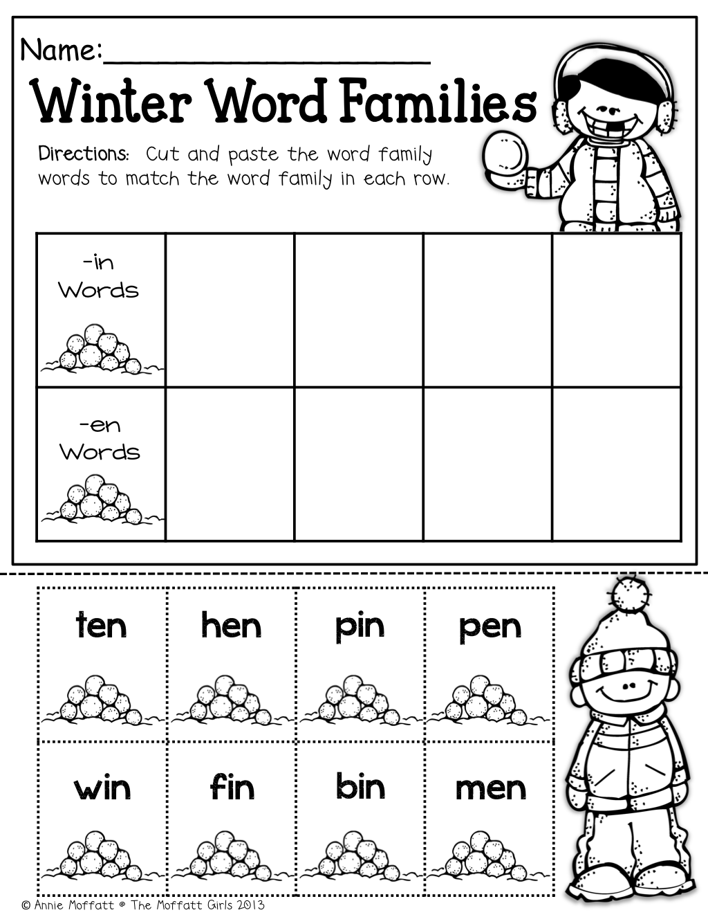 winter word families great way to practice simple cvc words cut and paste esl saturday. Black Bedroom Furniture Sets. Home Design Ideas