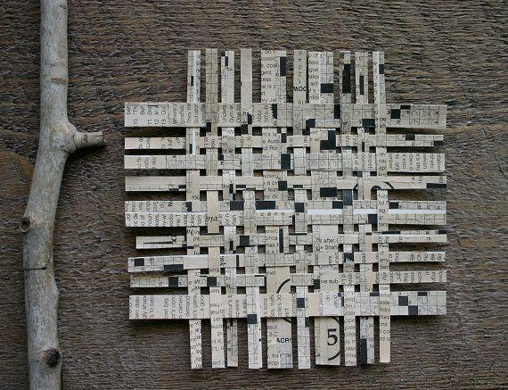 Crossword Paper Weaving White And Black Mixed Media Original
