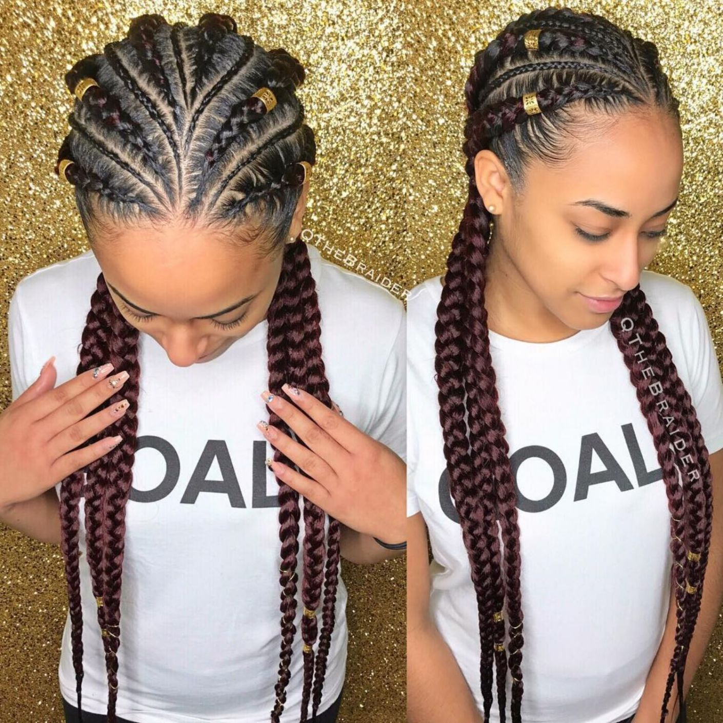 60 Inspiring Examples of Goddess Braids #24: 6 Feed-In Goddess Braids with Cornrows Being a fan of big braids, you\u2019ll appreciate the idea of these dark-maroon branching braids that are adorned with gold hair cuffs and braid string. Two goddess braids on each side and in the middle are branching out from the imaginary centre parting resulting in a unique hairstyle \u2026 #braidedhairstylesforblackwomen