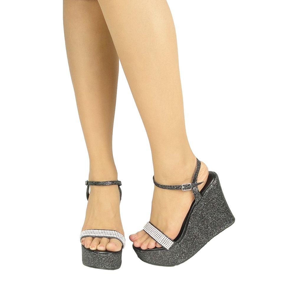 Black party sandals - Women Glitter Sexy Platform Wedge Rhinestone Party Sandals Ankle Strap Black