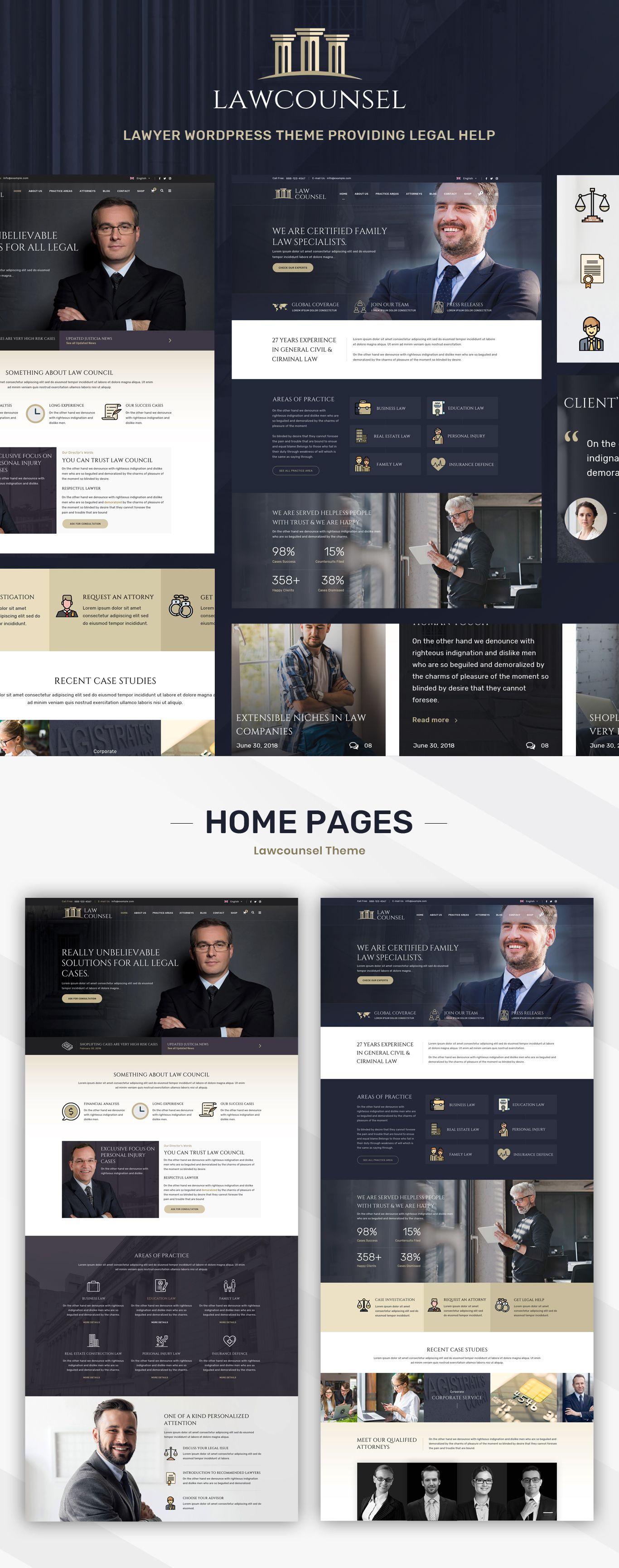 Lawcounsel Lawyers Wordpress Theme Lawyer Website Law Firm Website Design Law Firm Website